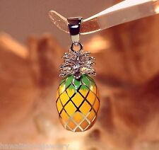 11mm Hawaiian Rhodium On Sterling Silver 2/3rd Shell Enameled Pineapple Pendant