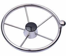 "Boat Stainless Steel 11""Steering Wheel With Knob 19mm 5 Spoke For Marine Yacht"