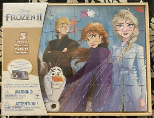 Disney Frozen 2 - 5 Different Wood Jigsaw Puzzles in Wood Storage Box New Sealed