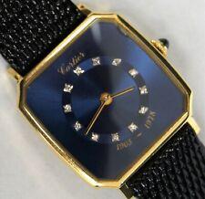 Vintage CARTIER 18k Yellow Gold Dark Blue Diamond Marker Dial Manual Wind Watch