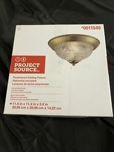 """Project Source 11.4"""" W Traditional Antique Brass Ceiling Flush Mount Light"""