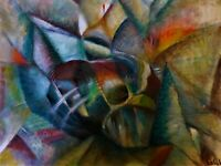 """Original Abstract Oil Painting, Signed, by Nalan Laluk, """"Getting Together"""""""