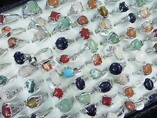 [US SELLER] 15pc  genuine agate stone and gemstone costume jewelry rings