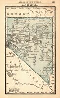 RARE Antique NEVADA State Map 1888 MINIATURE Vintage Map of Nevada 7881