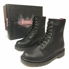 Demonia Defiant 100 goth gothic punk black ankle combat boots women's 5 Vegan