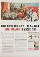 Lot of 3 Vintage  Puss 'n Boots Cat Food Advertisements Whole Fish