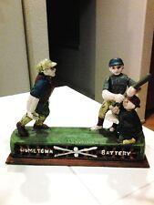 "Vintage Mechanical ""Home Town Battery"" Possums Cast Iron Baseball Bank"