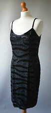 Ladies Black Designer Oleg Cassini Black Tie Beaded Silk Dress Size 12