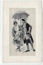 More details for woven silk picture postcard o a couple in 18th century dress (c46149)