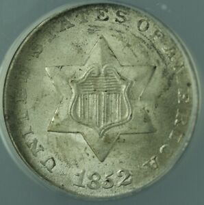 1852 Silver Three Cent Piece 3c Coin ANACS MS-64