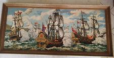 TABLEAU BATAILLE NAVALE DES DUNES 1639 MANCHE NAVY BATTLE