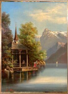 "1./2. Hippol. Roux  ""Tells Kapelle, Vierwaldstätter See"" rares, feines Ölgemälde"