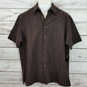 John Henry Mens Shirt Size XXL Brown Striped Button Up Short Sleeves