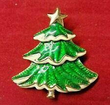 GOLD TONE GREEN & WHITE ENAMELED  XMAS TREE BROOCH / PENDANT W / GOLD STAR