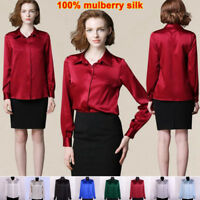 Womens 19Momme 100% Mulberry Silk Business Dress Shirts Blouse All Size Ailisilk