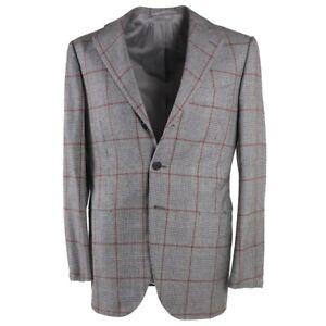 NWT $6500 CESARE ATTOLINI Gray-Red Check Super 150s Wool Suit 38 R (Eu 48)