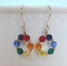 JanKellieDesigns-Rainbow of Swarovski Crystals and 14k Gold Earrings