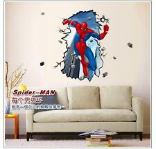 3D view decal Crack Spider man Children Bedroom decor Wall sticker PVC wallpaper
