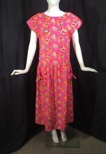 Vintage Laura Ashley Pink Floral Full Skirt Dress US 8 Pockets Cotton Ireland