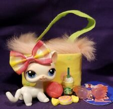 Authentic LITTLEST PET SHOP LPS #64 White Pink Cat Kitten Blue Eyes Sunglasses