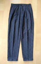 Vgc Vtg 80s New Wave Punk Black Gray Baggy Pleated Taper Leg Cuffed Pants 30