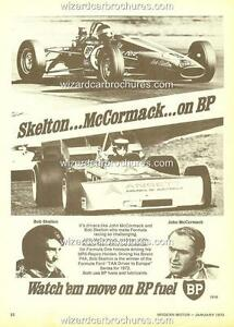 1973 BOB SKELTON & JOHN McCORMACK ELFIN MR5 BP FUELS A3 POSTER AD SALES BROCHURE