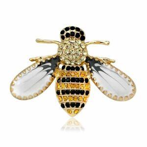 Fashion Wedding Bridal Yellow Bee Animal Crystal Brooch Pin Women Jewelry Party
