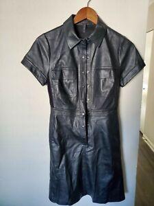 bcbg maxazria black faux leather dress NWT XXS
