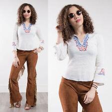 Vintage Estilo Bohemio Blusa Camisa años 70 Abierto Con Cuello Bordado Hippie Boho 8
