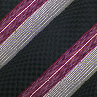 ERMENEGILDO ZEGNA Mens Black Gray Pink Berry STRIPED Woven Silk Tie Italy EUC