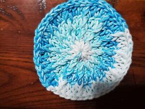 Handmade Crochet Rug for Doll House blue stripe - circle - 3.5 inches