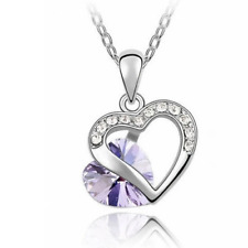 SILVER AND CRYSTAL HEART NECKLACE IN LILAC **UK SELLER** BRIDESMAID GIFT