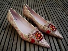 Ladies Sparkly Red & Gold Gem Trim Low/Mid Kitten Heeled Leather Shoes EU36 UK3