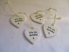 "FOUR EAST INDIA PORCELAIN HEART MESSAGE ""LOVE YOU GRANDAD"" GIFT TAG KEEPSAKE"