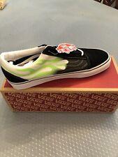 Vans Flame Old Skool Shoes Unisex Classic Vans Sneakers Black/Green Size 11 SALE