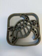 Sea Turtle Serving Trivet Handmade Ceramic Pottery Glazed Hot Plate Green