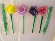 4 MURANO STYLE HAND BLOWN ART GLASS FLOWERS PURPLE,PINK,ORANGE,YELLOW, 2 LEAVES