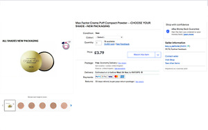 Max Factor Creme Puff Compact Powder - -CHOOSE YOUR SHADE-- SOLD OVER 13,000