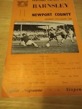 Newport County v Barnsley 27/8/66