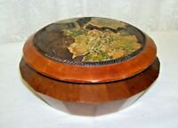 Antique Wood Round Box with Lid and applied Leaves