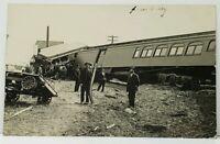 Dellvale KS RPPC Train Wreck Turned Wagon Man w/Rail - Photo 1910 Postcard B25