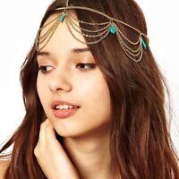 Edles Haarband Haarkette Stirnband Kopfschmuck mit Steinen in Marmor-Optik