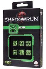 Shadowrun: Decker Black/Green (6) Würfelset /Diceset
