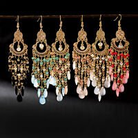 Women's Drop Multi-Gemstone Seed Beads Hook Earrings Crystal Bohemian Earrings