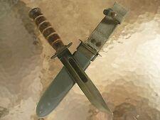 WW II U.S.N. FIGHTING KNIFE, Mark 2 by Camillus, w/ WW II Scabbard. Same as USMC