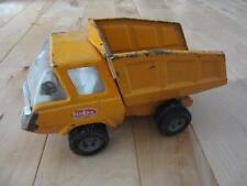 "VTG 70S ORANGE YELLOW TONKA STEEL DUMP TRUCK FULL CAB CHROME  GRILL 8 1/2"" LONG"