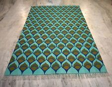 Hand-Woven  5x8 Feet Cotton Kilim Rug Green Color Block Printed Area Rug