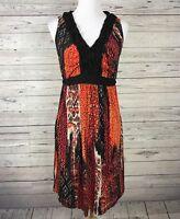 NEW DIRECTIONS Women's Orange Black Ikat Ruffle V-neck Knee Length Dress Size M