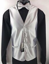 Bruno Piattelli Roma Silver Tuxedo Formal Men's 4 Piece Vest Tie Bow Tie Hanky