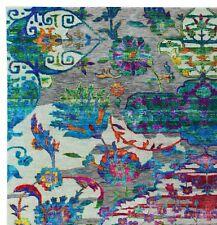 Palampur Hand Knotted Oriental Jaipur Design Sari Silk & Wool Area Rugs